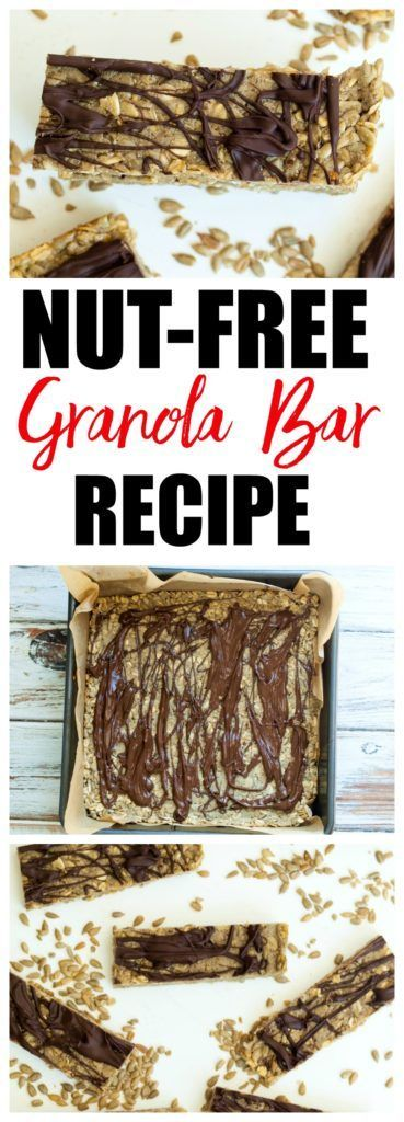 Super EASY nut-free granola bar recipe! Just 5 basic ingredients for this nut-free snack and they taste like candy bars! This is a healthy snack recipe that kids love. This is also a gluten-free and vegan friendly recipe.