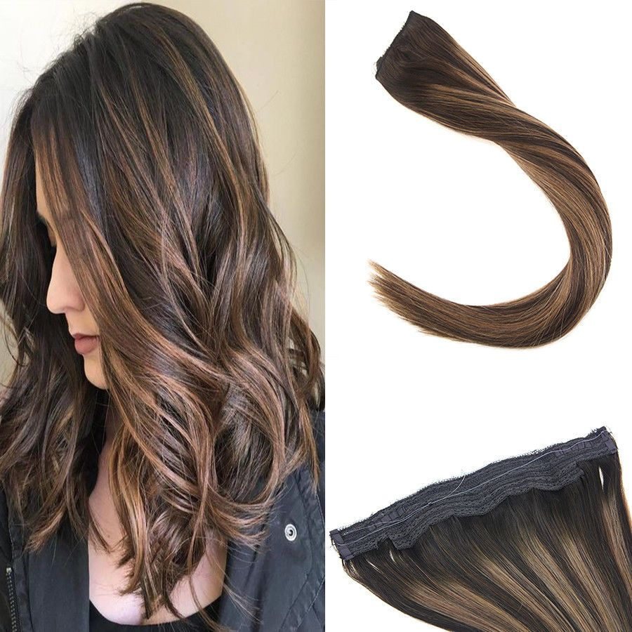 Sunny Brown Invisible Halo Hair Weft Flip on Human Hair Extension ...
