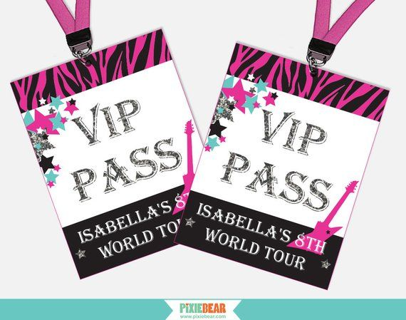 Rock Star Birthday VIP Pass - Rock Star Party VIP Pass - Printable Rock Star VIP Passes - Rockstar B #rockstarparty
