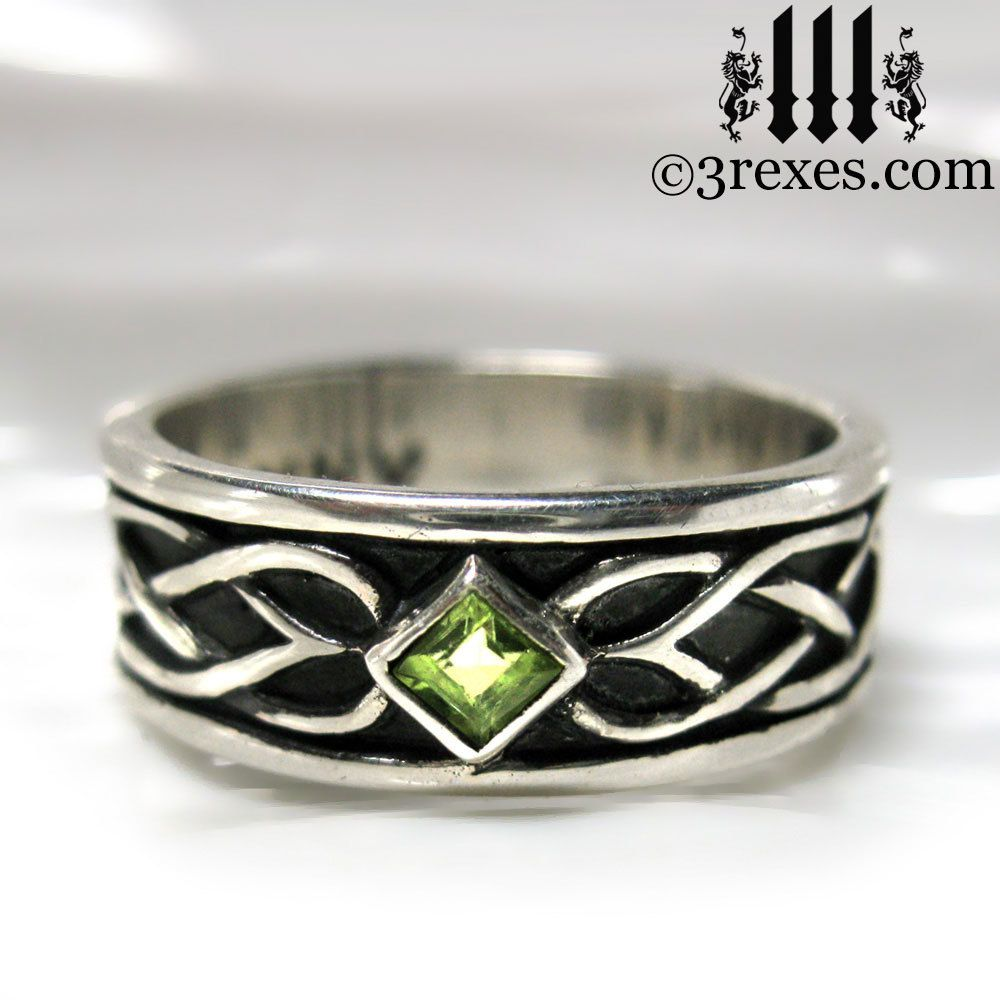 Celtic knot silver soul ring gothic stone celtic wedding
