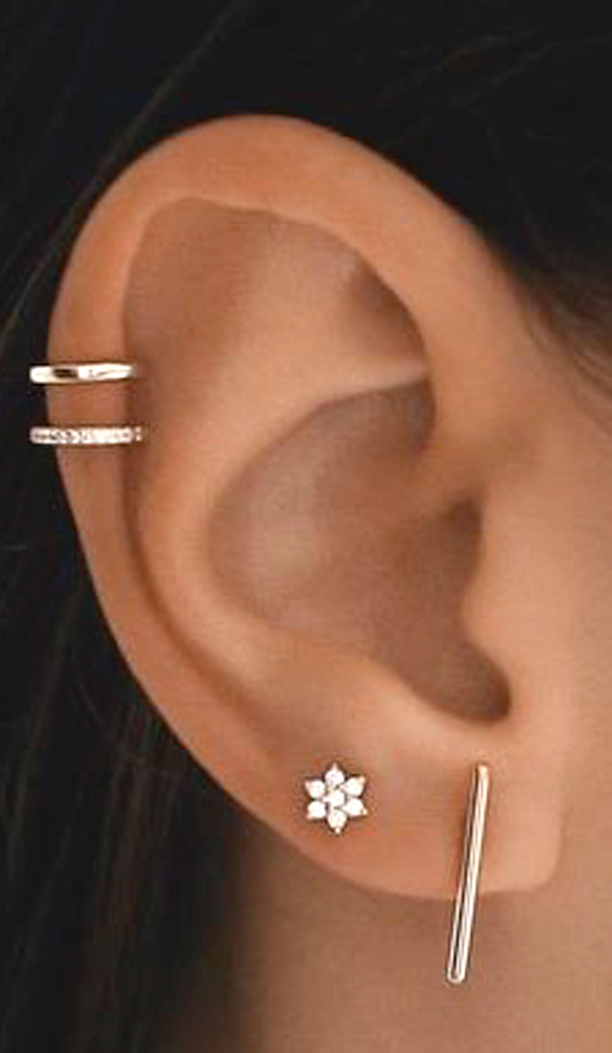 Petals Crystal Flower Ear Piercing Jewelry 16g Earring Studs In Silver Multiple Ear Piercings Ear Piercing For Women Ear Piercings
