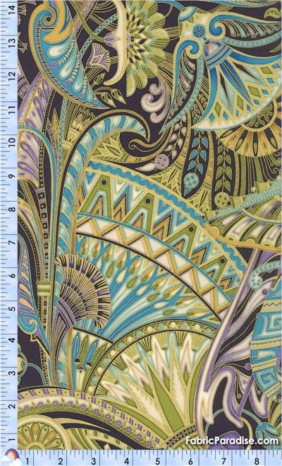 Valley of the Kings - Gilded Large-Scale Egyptian Lotus Collage 11/yd