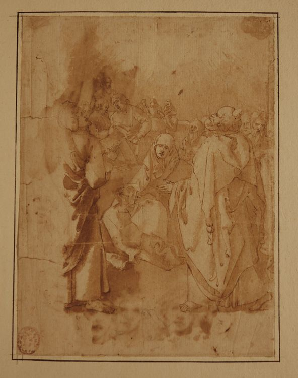 Paolo Veronese, attributed, Pentecost. Pen and brown ink and wash on cream laid paper, c. 1545-55?.
