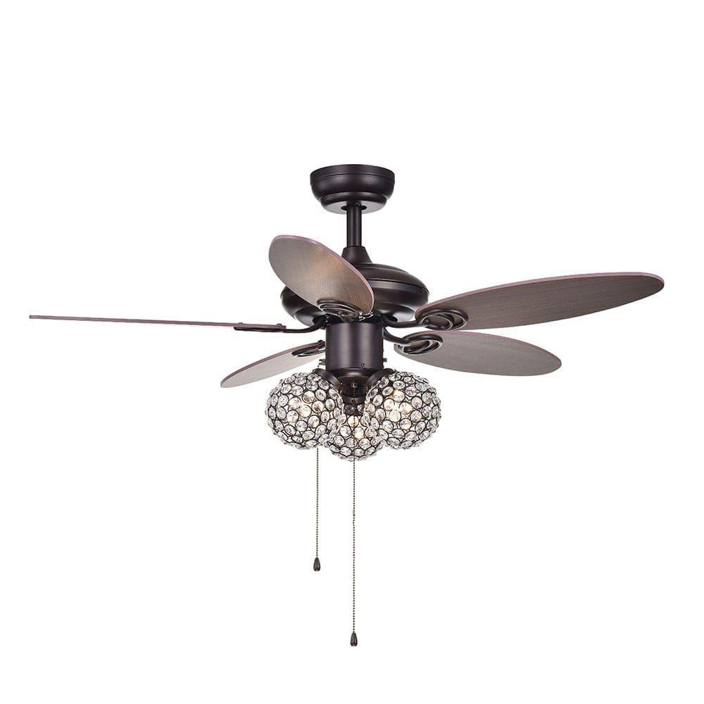 Casimer 5 Blade 3 Light Crystal Bronze 42 Ceiling Fan 2 Color Option Blades Bronze Ceiling Fan Ceiling Fan Ceiling Fan Pull Chain