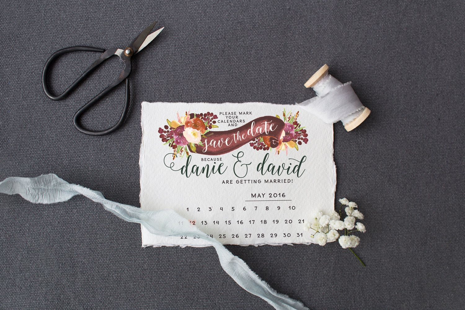 Romantic Floral Save the Date Calendar Card for DIY brides - Printable Flower Banner Save the Date for Rusic Weddings - by SplashOfSilver {affiliate}