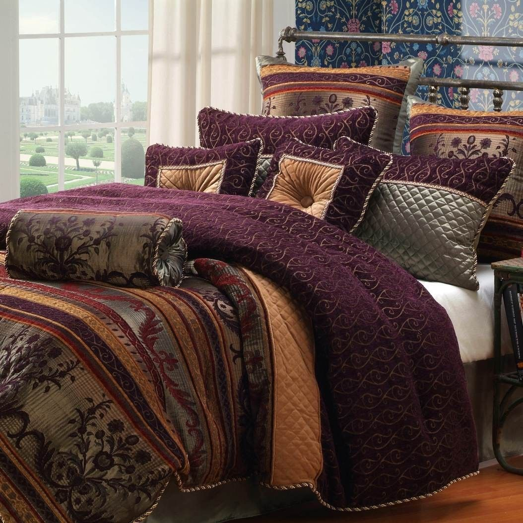 Plum And Gold Bedding Google Search Bedroom Comforter Sets Comfortable Bedroom Comforter Sets