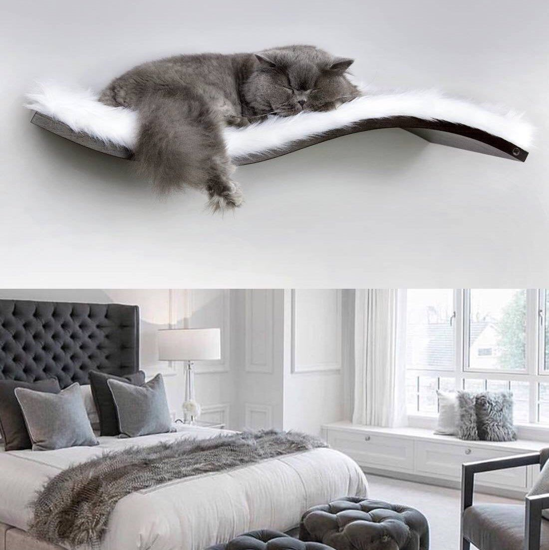 Wall wave shelf, cat perch, snow white faux fur, floating