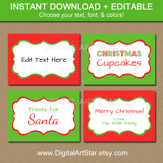 Editable Christmas Labels.Free Holiday Printables Buffet Labels Editable