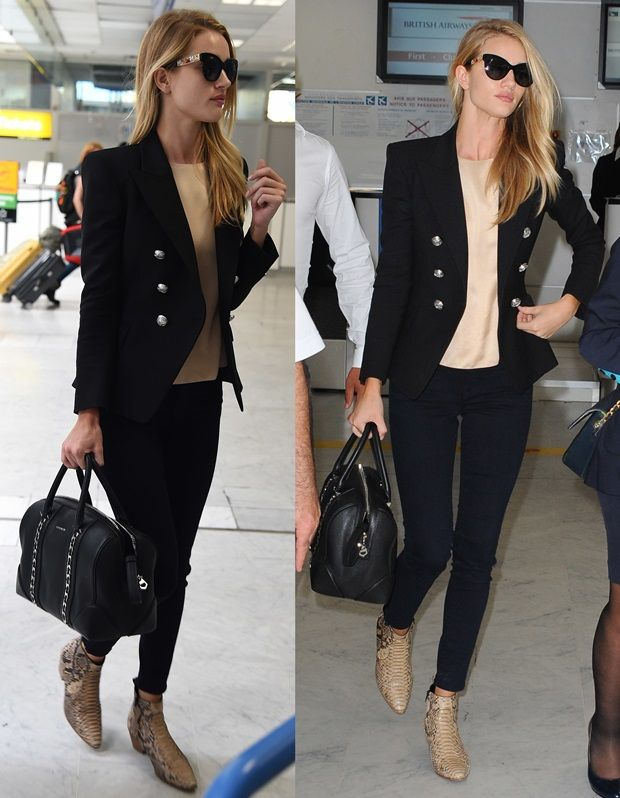 08d4f8dd5d Rosie Huntington-Whiteley in Balmain Blazer and Saint Laurent Boots ...