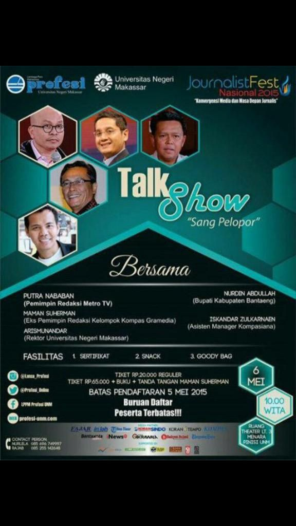 Talkshow in UNM on 6th of May 2015 at 10.00 WITA.