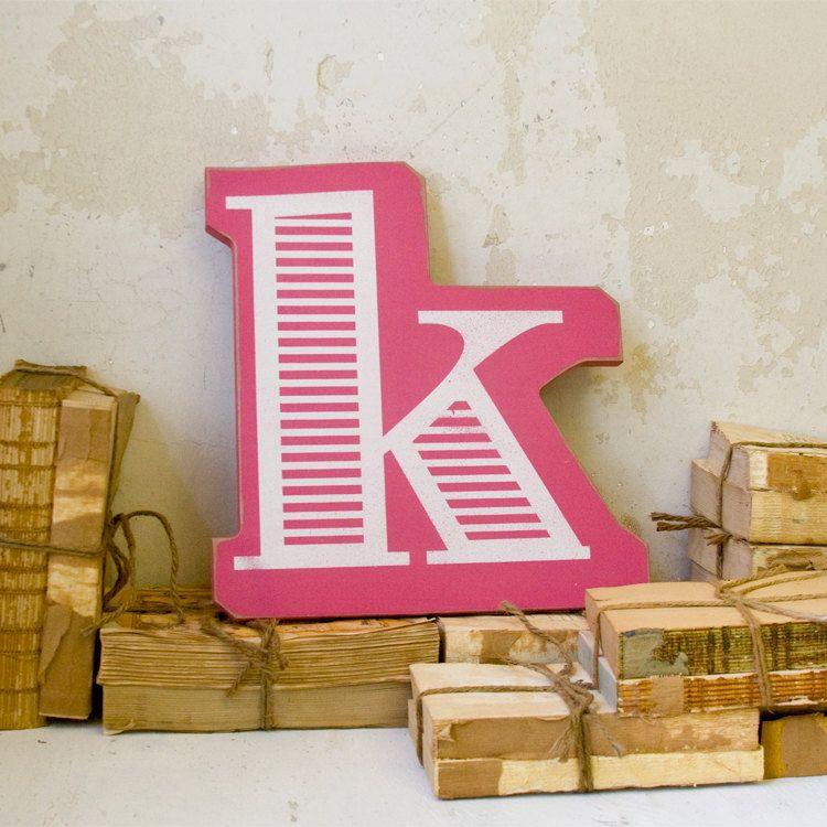 Pink Letter K Wall Decor Striped Via Etsy K Pinterest Etsy