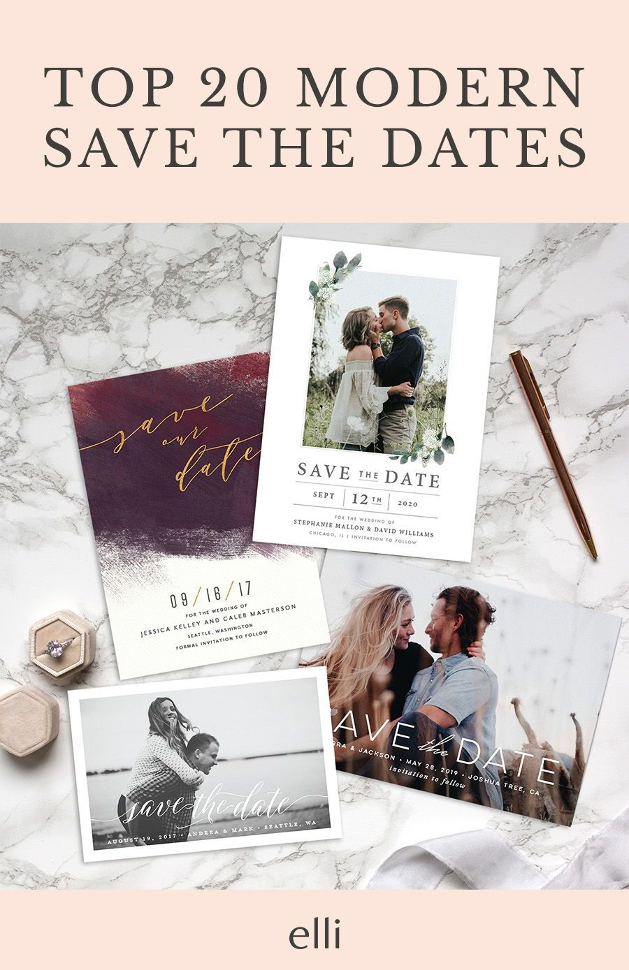 Top 20 Modern Save The Date Cards To Announce Your Wedding Date Savethedates Savethedatecards Wedding Planning Websites Wedding Planning Save The Date Cards