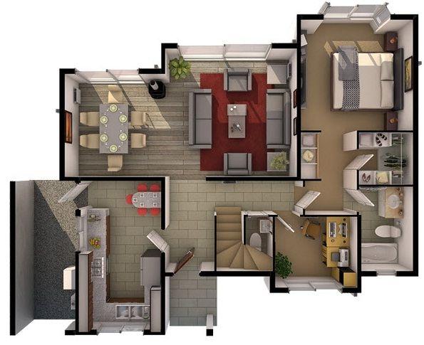 planos de casas de dos pisos 4 habitaciones