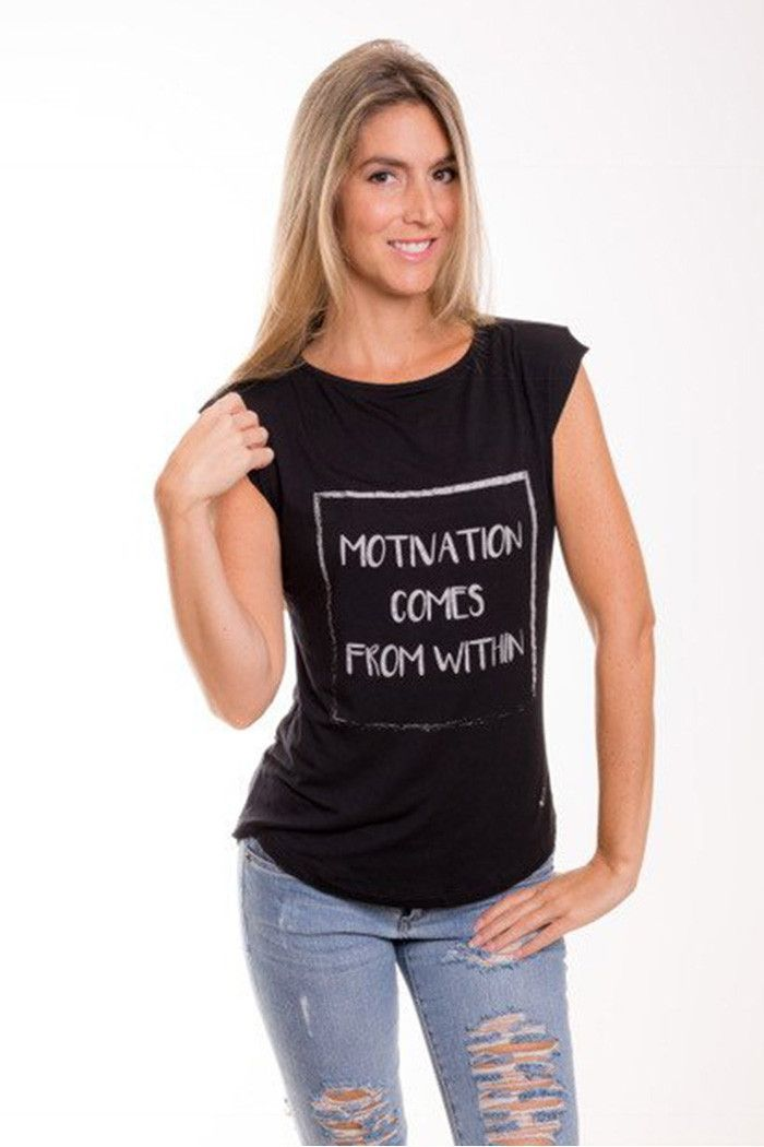 Motivation Comes From Within Slash Back Tank