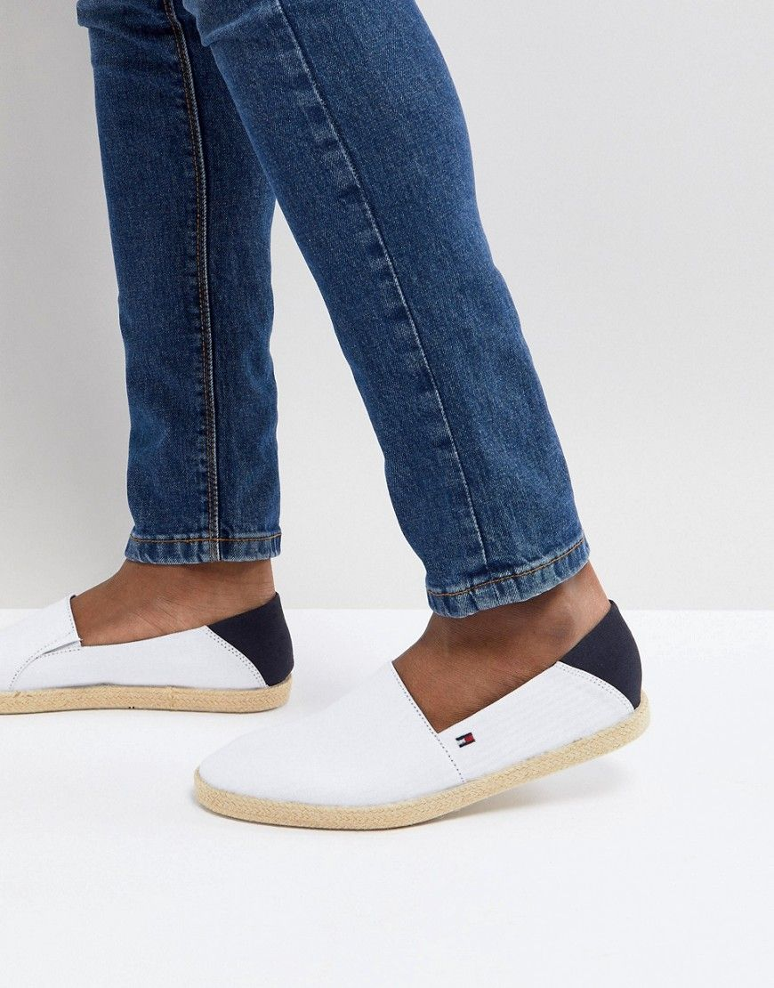 d9a87c557673 TOMMY HILFIGER EASY SUMMER CANVAS SLIP ON ESPADRILLES IN WHITE - WHITE.   tommyhilfiger