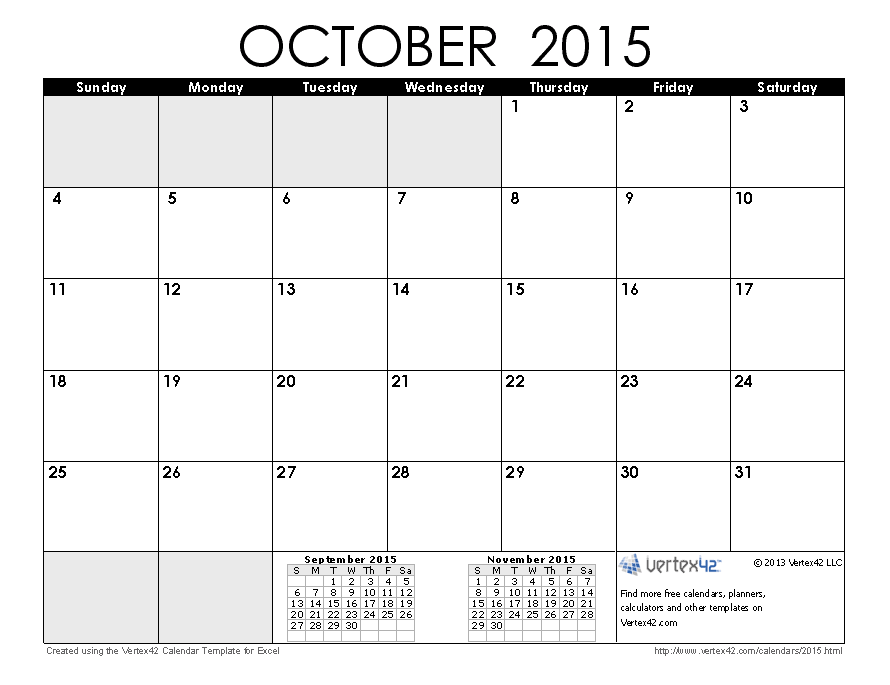 Download a free October 2015 Calendar from Vertex42.com | march ...