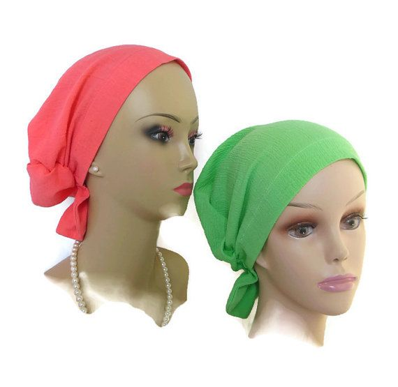 Hair Snood: Green or Coral Gauze Turban |Volumizer Chemo Headwear | Cancer…