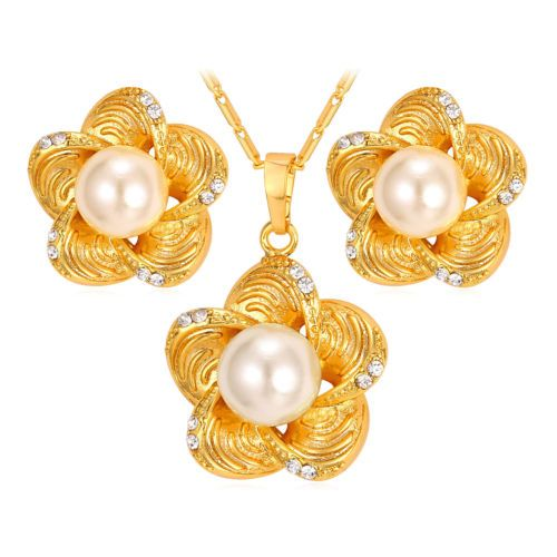 Flower-Pearl-Pendant-Necklace-Stud-Earrings-Set-18K-Gold-Platinum-Plated-Jewelry