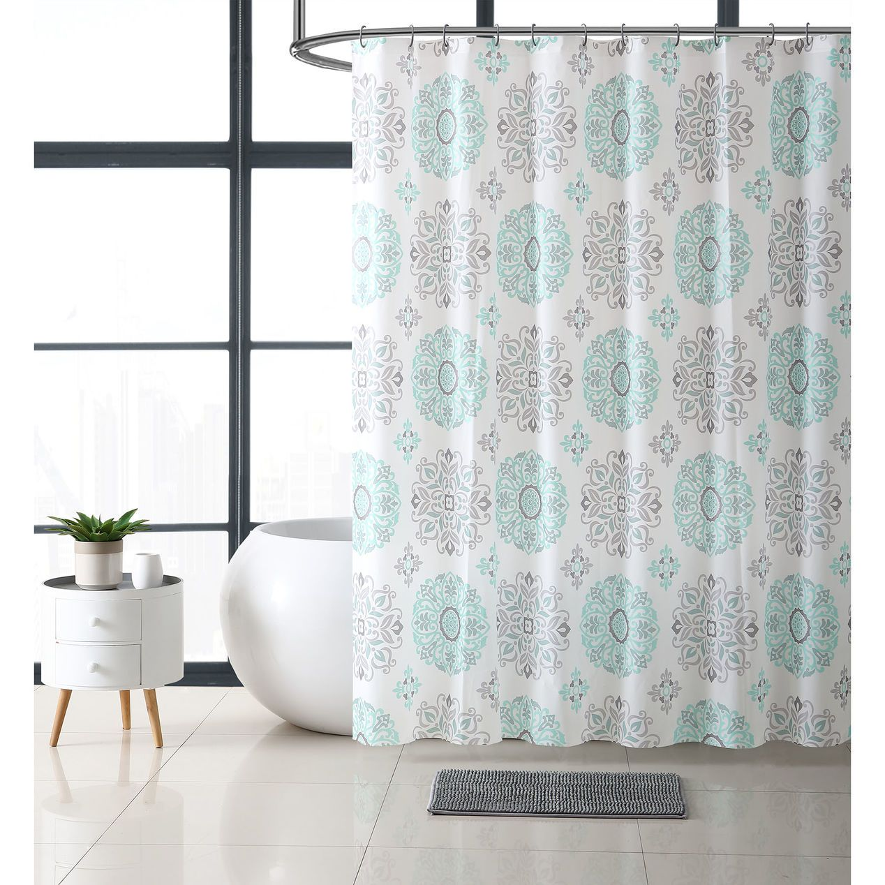 Marisol 14pc Bath Set Mint At Home Luxury Shower Curtain