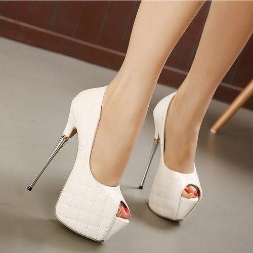 16 CM Tacones de Aguja Zapatos de Las Mujeres Peep Toe Plataforma  Slip-Sobre la Mujer Sexy Bombas Nightclub Partido Mujeres Zapatos de Tacones  Altos 599995dd5b5f