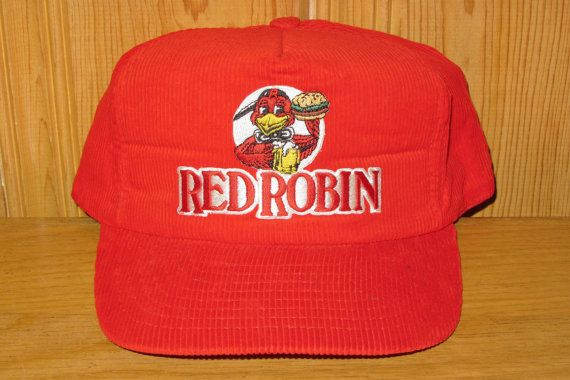 f5c38688123 RED ROBIN Restaurant Original Vintage 80s Corduroy Trucker Snapback ...