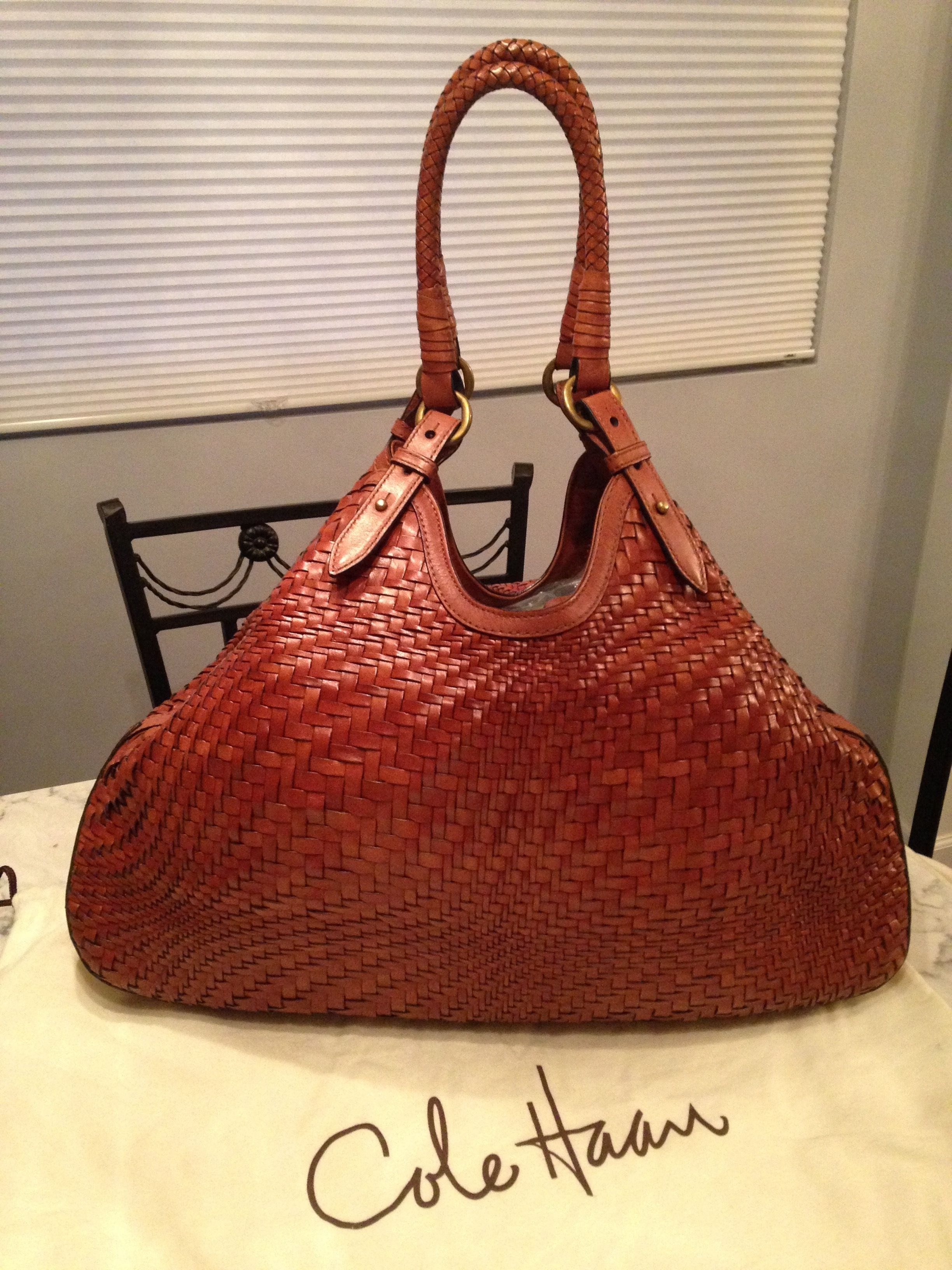 Cole Haan Genevieve 19 Large Woven Leather Weave Triangle Hobo Handbag Saddle Brown Cognac Tote Bag Get One Of The Hottest Styles Season