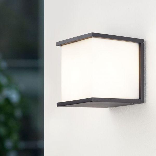 Geradlinige ECO-LIGHT Außenwandleuchte Box Cube in anthrazit #hausdekoeingangsbereichaussen