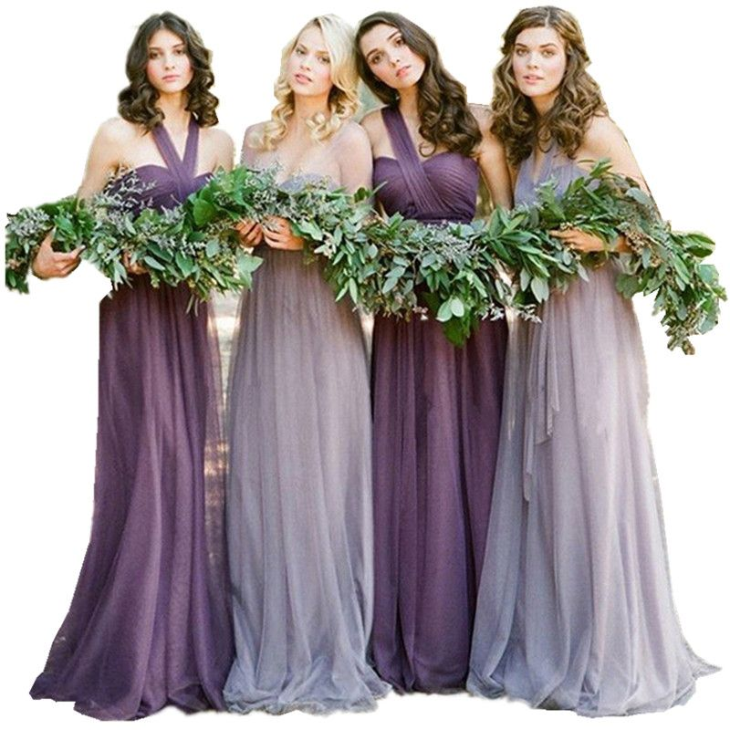 Vestidos De Novia Pastel Mismatched Purple And Lavender Bridesmaid ...