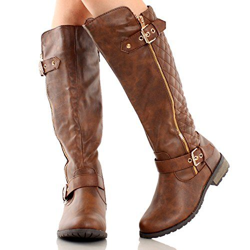 Forever Link Women's MANGO-21 Quilted Zipper Accent Riding Boots ... : brown quilted riding boots - Adamdwight.com