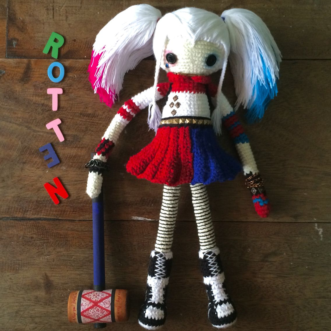 Harley Quinn crocheted art doll by Margaux Rull based on the character from DC and Suicide Squad