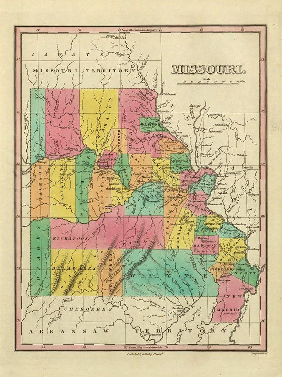 Missouri Vintage Map Us State Map Missouri Map Color Map Of Office - Map-of-us-missouri