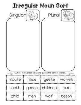 Irregular Plural Noun Sort. Cut and paste freebie! | Reading and ...