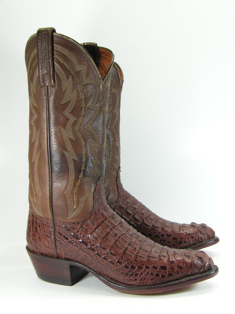 d7d9bfaec9a lucchese cowboy boots mens 8 D brown crocodile tail 2000 alligator ...