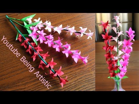 Paper Flower Stick 3  DIY  Paper Craft  Handcraft is part of Paper crafts diy - How to make beautiful flower stick and leaves using Colored bond paper, Easy to make, and can turn your home more beautiful  If you liked it, please subscrib