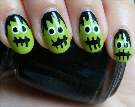 Nail Art Tutorial: Frankenstein's Monster Nails - Frankenstein Nails! Nails ;D Pinterest Frankenstein