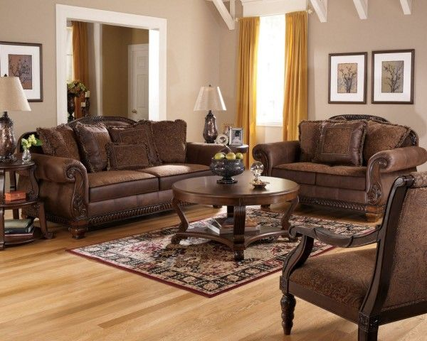 Lovely Furniture Artistic Broyhill Living Room Sets Using Traditional Brown Leather  Sofa Toward Antique Round Wood Table Over Oriental Area Rugs On Wooden  Flooring ...