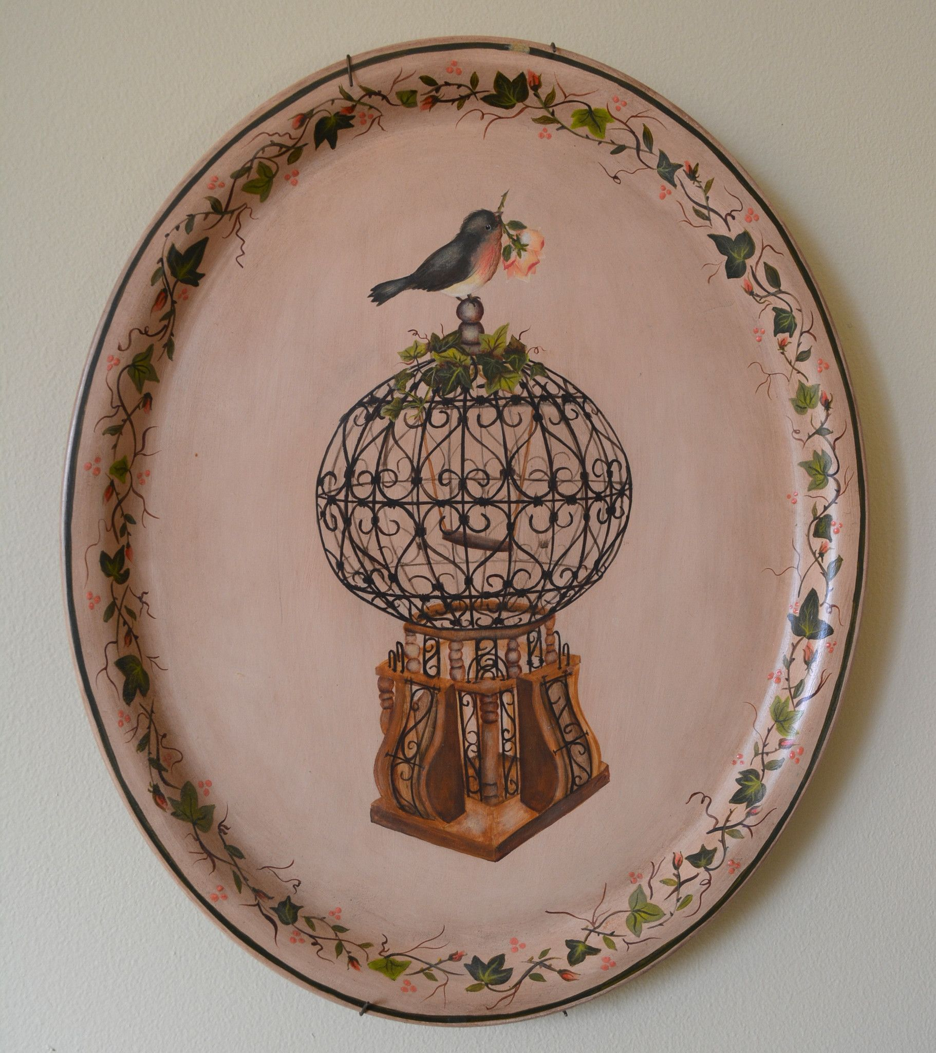 Vintage Tole Tray Toleware Hand Painted Bird with Rose Bird Cage and I
