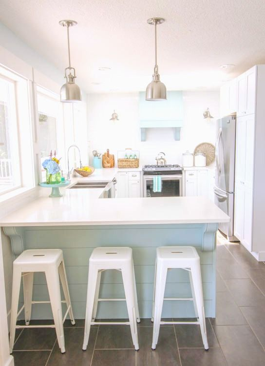 White Kitchen Aqua Accents our coastal style white shaker kitchen makeover {the reveal