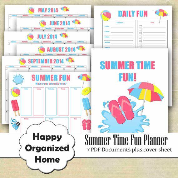Summer Planner Calendar Daily Summer by HappyOrganizedHome on Etsy