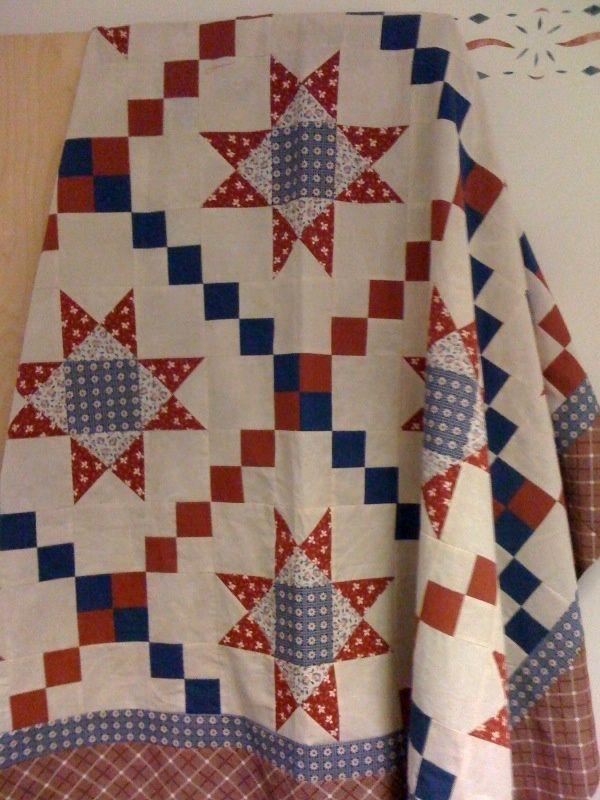 Ohio Star Quilt With Irish Chain Sashing Handmade