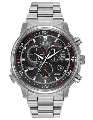 3539ccdb8 Citizen Eco-Drive Nighthawk AT - Stainless Steel - Black & Red Dial -  Bracelet