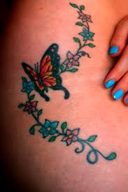 small flowers and colorful butterfly tattoos - Google Search