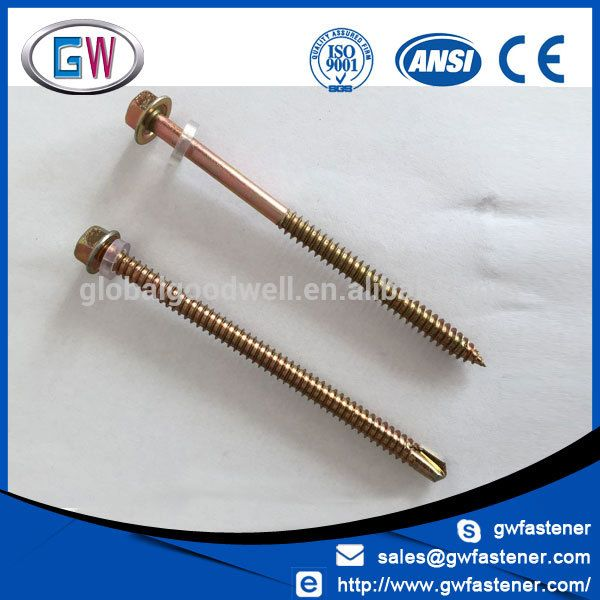Hex Washer Head Yellow Zinc Self Drilling Roof Screws Drill Manufacturing Zinc