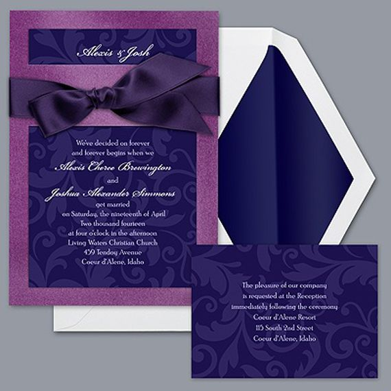 Formal Violet Wedding Invitation | Formal Wedding Invitations ...