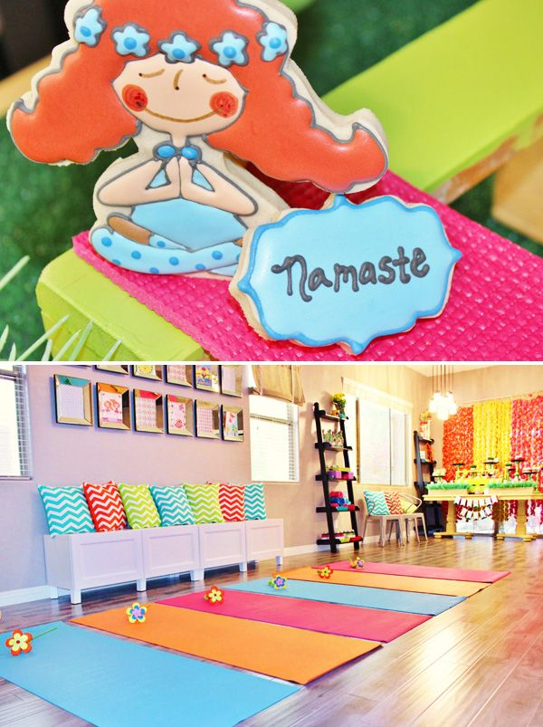Playful Healthy Yoga Themed 2nd Birthday Hostess With The Mostess Yoga Party Kids Birthday Party Girly Party Ideas