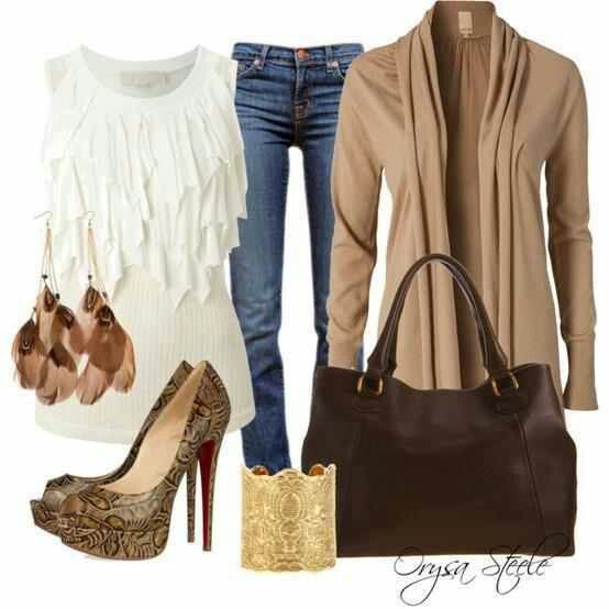 Sexy Casual Flowy white tank top with Light brown cardigan and ...