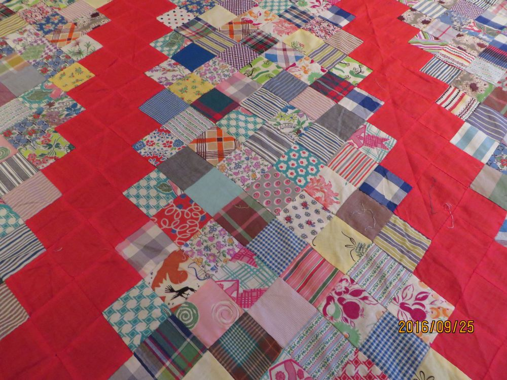 "Vintage Hand Pieced Quilt Top All Cotton 64"" x 84"" 