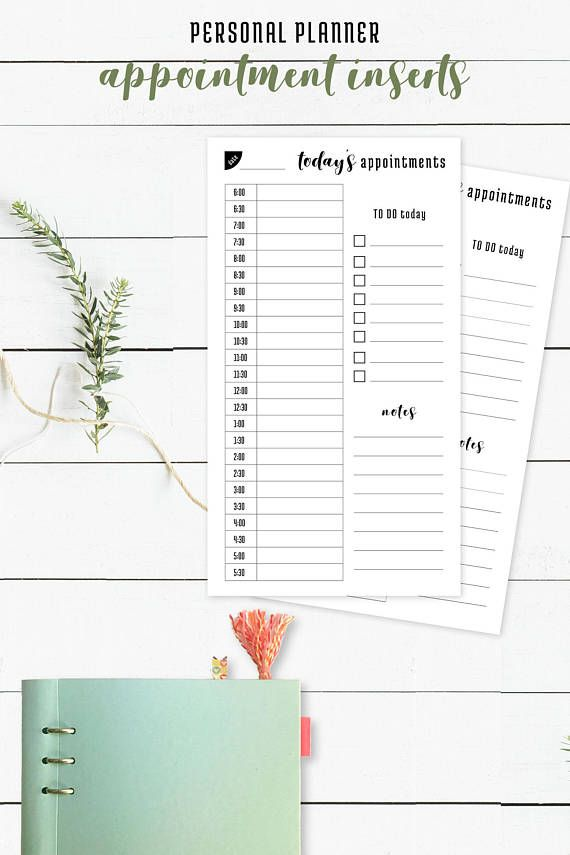 Appointment Sheet Personal Size Planner 6 Ring Planner Bullet - appointment planner