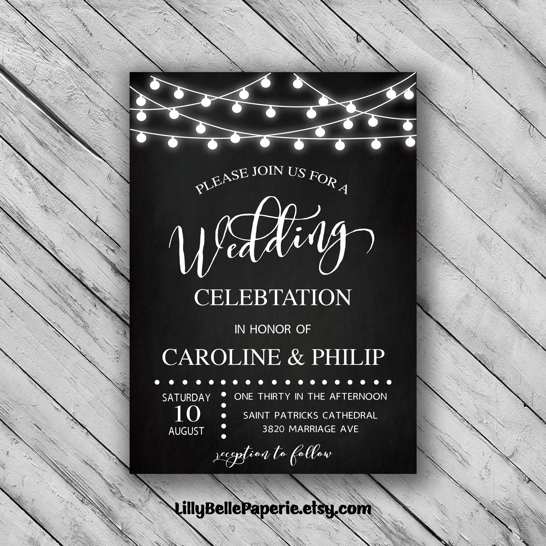 Chalkboard wedding invitations country wedding invitation lights