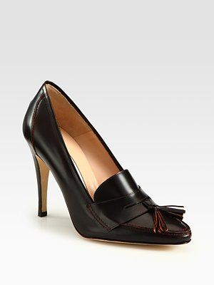 visit sale online Manolo Blahnik Leather Loafer Pumps nicekicks cheap price wbYjDDru